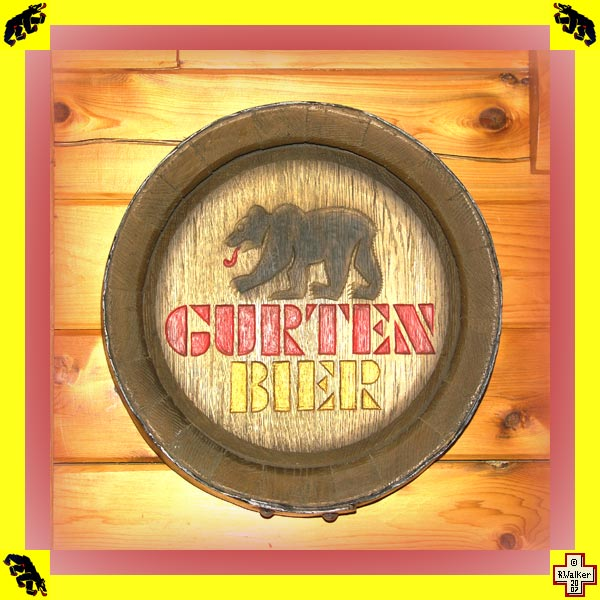 Photo: Bern Bear Gurten Bier (beer) barrel end (Fassboden) sign.