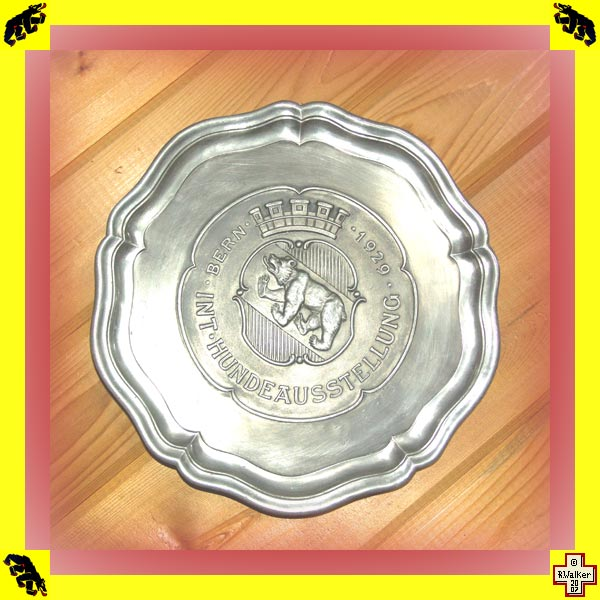 Photo: Bern Bear on pewter (Zinn) plate from 1929 Bern dog show (Hundeaustellung)