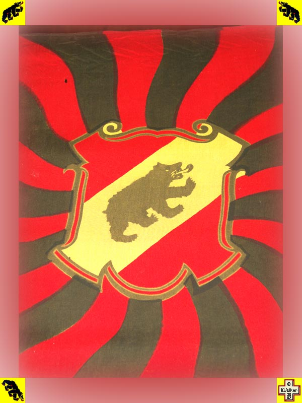 Photo: Bern Bear on very old flag of Canton Bern.