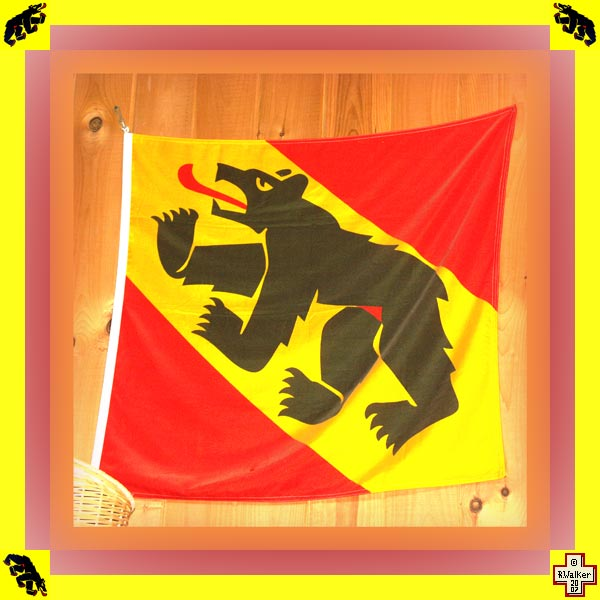 Photo: Bern Bear on modern flag of Canton Bern.