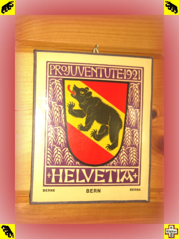 Photo: Bern Bear on 1921 Pro Juventute Helvetia plaque. Stamps were issued (semi-postal) which cost more than face value, the rest going to charities such as Pro Juventute. The image on this plaque is found on a 1921 Swiss 20+20 denomination stamp.