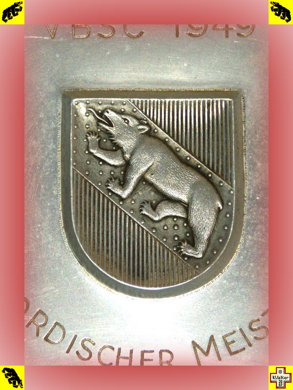 Photo: Bern Bear on 1949 pewter (Zinn) shooting club plate.