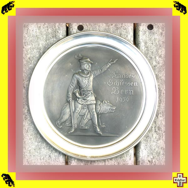 Photo: Bern Bear on 1936 pewter (Zinn) shooting match plate.
