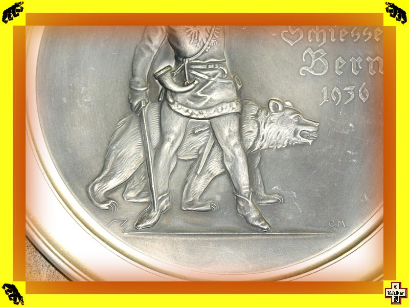 Photo: Detail of above Bern Bear on 1936 pewter (Zinn) shooting match plate.